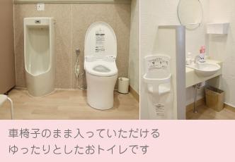 トイレ 車椅子のまま入っていただきやすい仕様. 自動センサーの手洗いとゆったりとしたおトイレです
